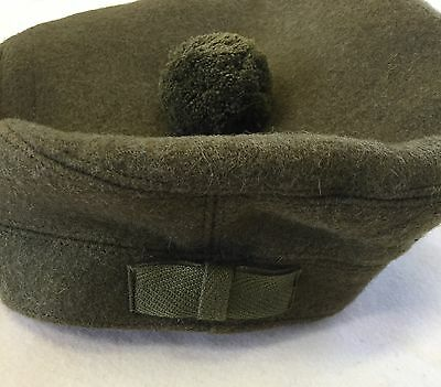 Scottish Tam O Shanter Hat, Army, Military, Khaki Green Bonnet, Scotland Cap