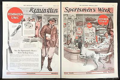 1925 Remington Rifle Sports Hunting Store Long-Haired Pointer Dog Bunker Art Ad