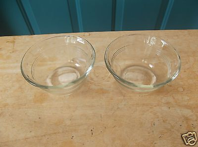 Two MSE Clear Glass 8 Ounce Custard Cups with Three Lines