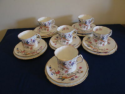6 X Hammersley 'Bird Of Paradise' Trios (Cup/ Saucer/Side Plate) - 1st Quality