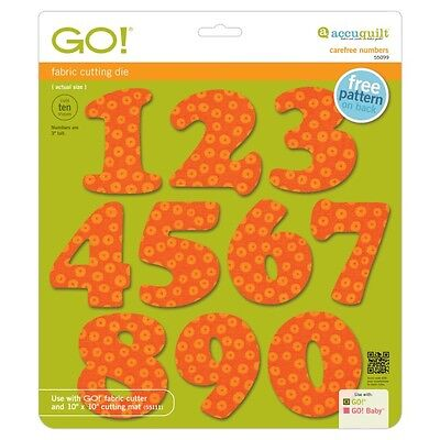 """Accuquilt Go Fabric Cutter Die Carefree 3"""" Numbers 55099"""