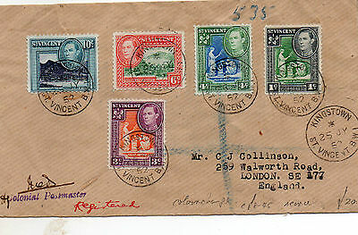 1952 St Vincent Registered cover to England