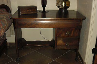 Antique Solid Mahogany Desk/library Table With Animal Paw Legs - Hgh Quality