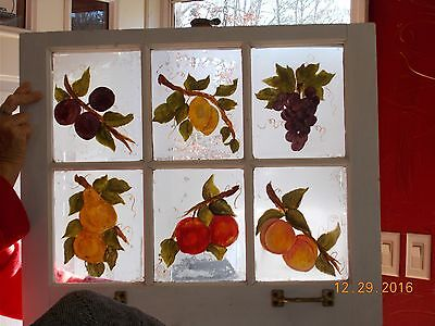 Sash Antique Wood Window Picture Frame 6 Pane Painted Glass Fruit