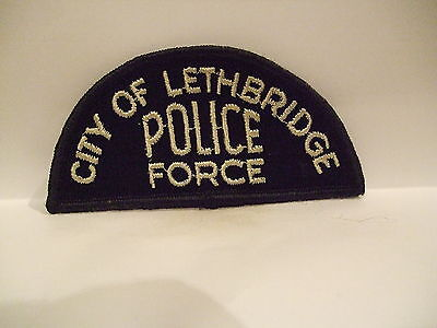 police patch  CITY OF LETHBRIDGE POLICE FORCE ALBERTA CANADA HALF MOON OLD STYLE