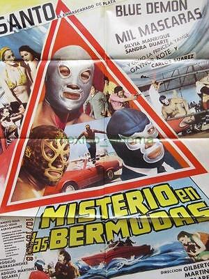 El Santo Mil Mascaras Blue Demon Wrestling Beautiful Mexican One Sheet Poster