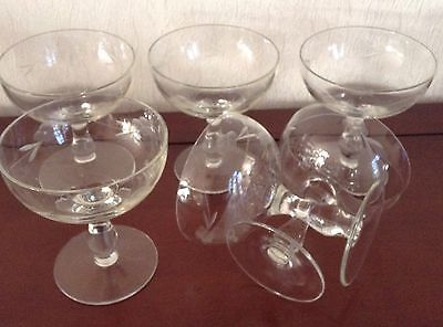 Vintage Etched Glass- A set of 6 Champagne Glasses Saucers