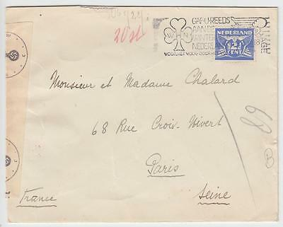 Netherlands 1941 Censored Cover The Hague To Paris