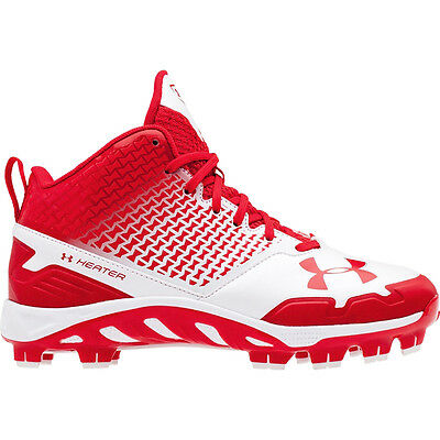 New Under Armour UA Spine Heater Mid TPU Mens Baseball Cleats Plastic : Red