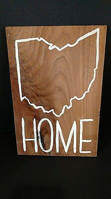 Hand Painted Wooden Sign - HOME - Ohio