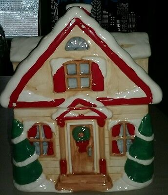 Christmas Themed House/Cabin Cookie Jar by MCE EDI Sausalito