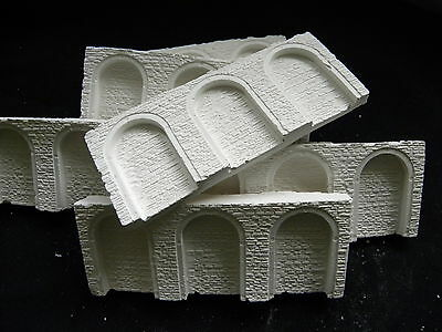 6x  arched walls for n scale model railway unpainted -white for you to colour