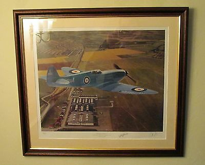Signed 1936 Prototype Mk1 Spitfire over Eastleigh Limited Edition Print - & COA