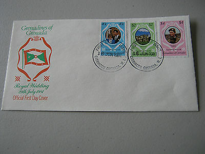 FDC - 1981 - Grenadines of Grenada - Royal Wedding - 40c, $2, $4 stamps (1790)
