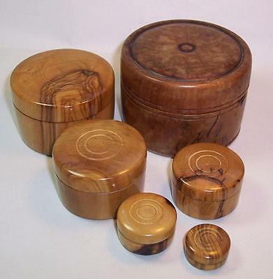 Vintage/Antique QUALITY Set of 6 Turned NESTING POTS Boxes WOOD/WOODEN Treen