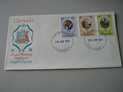 FDC - 1981 - Grenada - Royal Wedding - 30c, 40c, $4 stamps (1790)