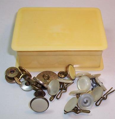 Vintage/Antique CELLULOID/IVORINE BOX with Assorted STUDS & BUTTONS Inside