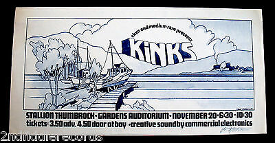 THE KINKS-RARE 1970 BOB MASSE Signed CONCERT POSTER-Excellent Condition