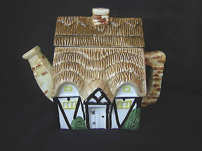 Tudor Style Cottage Ware Teapot With Thatched Roof
