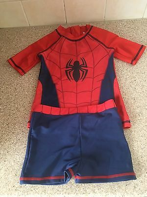 Marvel Spider-Man Uv Swimming Top And Trunks Age 5/6 New
