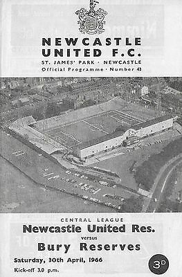Football Programme NEWCASTLE UNITED RESERVES v BURY RESERVES Apr 1966