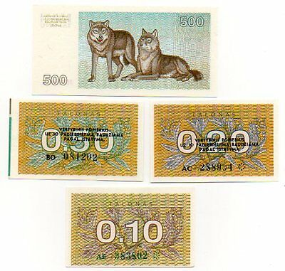LITHUANIA  -  4 great  different  UNC  0.1 / 0.2 / 0.5 /  500  t -  LAST LOT !!