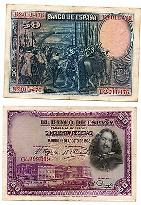 SPAIN -  2  great  50  pesetas notes  #75b  from  1928 !!