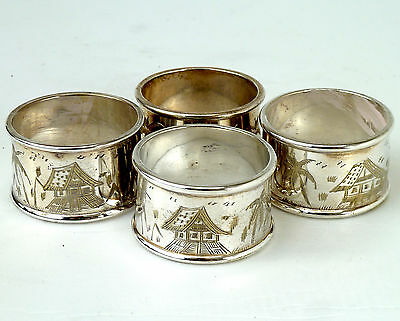 Silver Napkin Rings Matching Set Of Four
