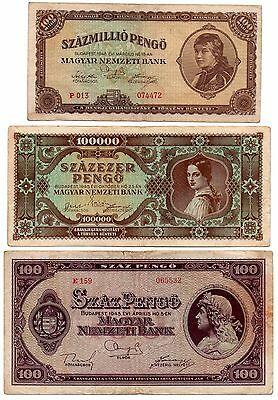HUNGARY - 3 great RARE different  100 / 100 /100,000 pengos     -   1945/1946 !