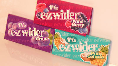 E-Z 1 1/2 inch wider rolling papers pack of 3 Grape,Pina Colada & Wild Berry