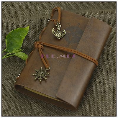 Portable Nautical Vintage Leather Notebook Refillable Journal Sketchbook Brown