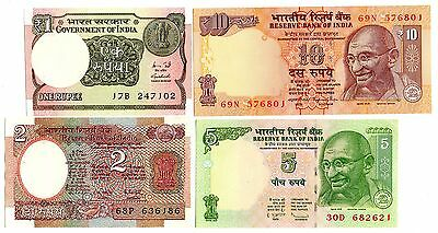 INDIA - 4  great different UNC  1 / 2 / 5 / 10  rupees
