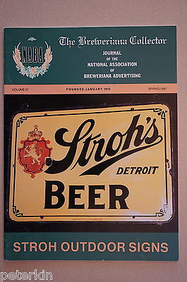 Spring 1987 NABA Breweriana Collector Journal STROH'S BREWERY DETROIT feature