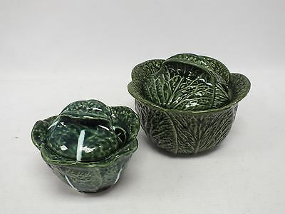 Pair of Novelty Green Cabbage Shaped Tureens with Lids from Portugal  - N19
