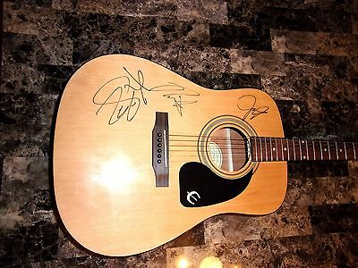 The Jonas Brothers Band Signed Acoustic Guitar Nick Joe Kevin Candid Photos RARE