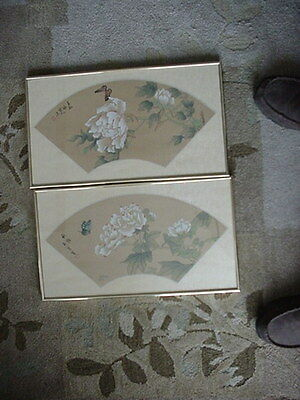 2 Vintage Chinese Water Color Fans W White Flowers W Mark & Signature