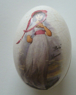 """Vintage Egg/Oval Shaped Trinket Box - """"Pinky"""" by Lawrence Image on Lid"""