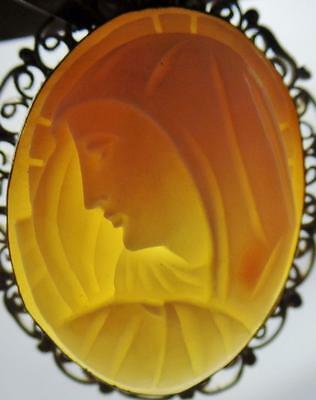 Antique Blessed Virgin Mary Madonna Carved Shell Cameo Silver Filigree Pendant