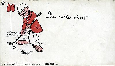 Aw Gamage Outfitters - Golf Humour - I'm Rather Short - Old Advert Postcard