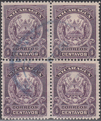 V38: Nicaragua - 1909 SG281 Sc240 4 centavos block of four, used