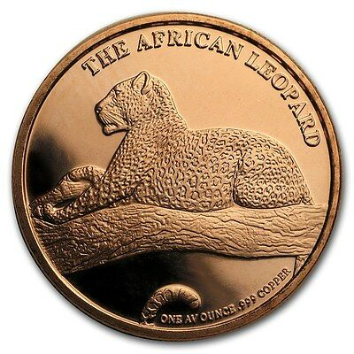 1 Unze Copper Round The Silver Kruger African Leopard 999,99 AVDP