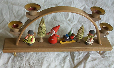 Vintage Erzgebirge Germany Candle Holder Santa Christmas Trees German Angels