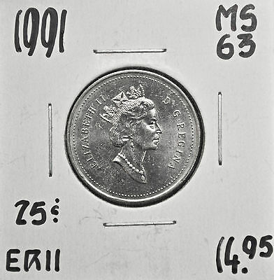 1991 Canada 25 Cents MS-63