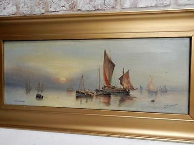REALLY old PAINTING oil SAIL BOAT signed J COPLEY