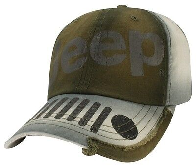 Brand New Green / Grey Distressed Jeep Wrangler Grille Hat Cap! Oem