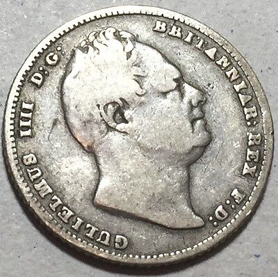 GB . King William IV . 1837 . Six Pence    . Nice Coin.