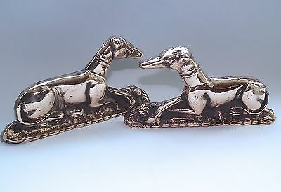 Antique Vintage Brass Bronze Copper Greyhound Whippet Figures Fireside Hearth