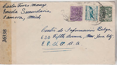 1940s MEXICO WW2 ERA STAMPS ON CENSOR COVER MAILED TO NEW YORK CITY USA