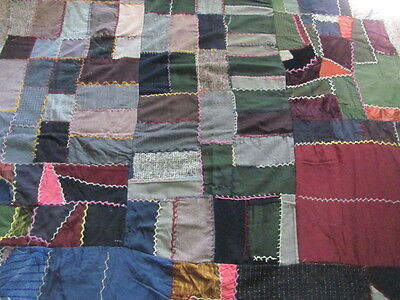 Primitive wool velvet crepe crazy quilt to finish