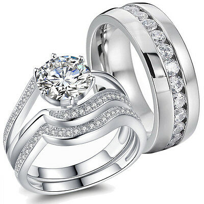 Hers Solid Sterling Silver His Stainless Steel Couple CZ Wedding Ring Band Sets